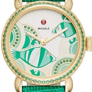 Michele Seaside Fish Watch with Diamond emerald